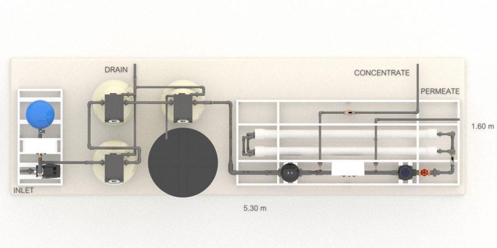 Sơ đồ 3D Hệ thống lọc nước RO 2m3/giờ cho Tháp giải nhiệt