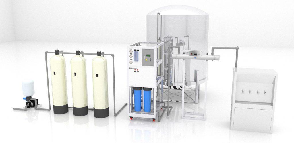 Sơ đồ 3D Hệ thống lọc nước RO cho canteen